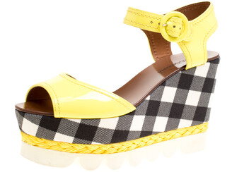 Dolce & Gabbana Yellow Patent Leather Bubble Sole Espadrille Wedge Platform Sandals Size 38.5