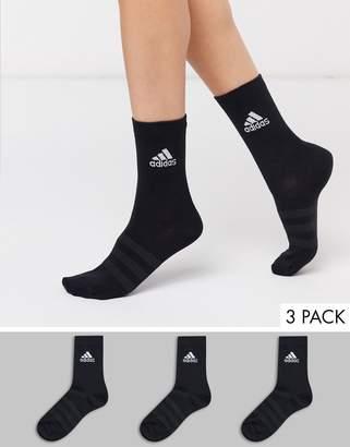 adidas 3 pack socks in black