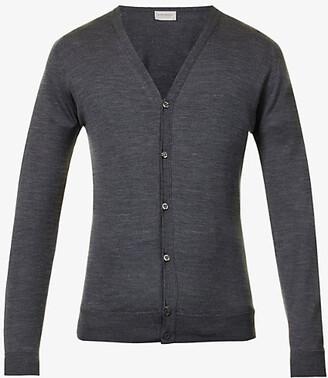 John Smedley Men's Charcoal Petworth V-Neck Merino Wool Cardigan, Size: L