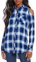 Peter Nygard Plaid Cold Shoulder Shirt