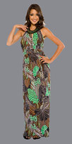 Jungle Print Long Dresses With Stone Halter Necklace
