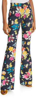 Etro Exotic Floral Boot-Cut Jeans