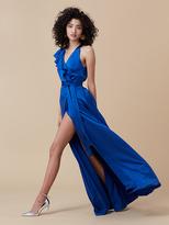 Diane von Furstenberg Floor-Length Asymmetric Ruffle Wrap Dress