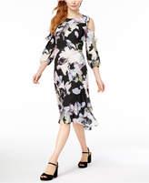 Bar III Satin Cold-Shoulder Flounce Dress, Created for Macy's