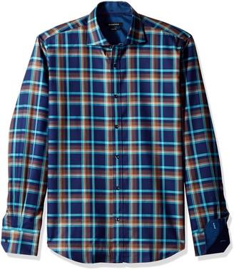 Bugatchi Men's Spread Collar Shaped Fit Windowpaine Check Shirt