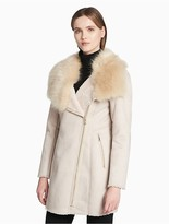 Calvin Klein Faux Shearling Asymmetrical Zip Coat