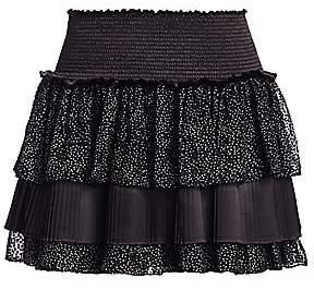 Ramy Brook Women's Beckie Ruffled Micro-Dot Mini A-Line Skirt