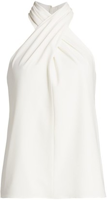 Halston Crossover Crepe Blouse