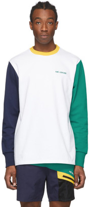 Aimé Leon Dore White and Green Colorblocked Long Sleeve T-Shirt