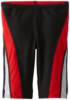 Speedo Big Boy's Youth Launch Splice Jammer Swimsuit, Black Red,/10