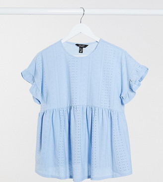 New Look Maternity ruffle-sleeved peplum top in blue broderie