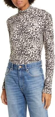 La Vie Rebecca Taylor Animal Print Cotton Blend Jersey Mock Neck Top