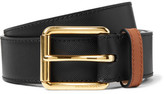 Burberry 3.5cm Two-tone Embossed Leather Belt - Black