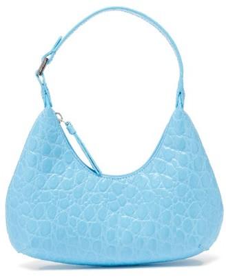BY FAR Baby Amber Croc-effect Leather Mini Shoulder Bag - Blue