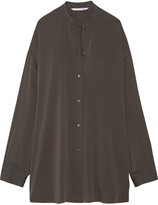 Helmut Lang Split-back Stretch-silk Crepe De Chine Shirt - Charcoal