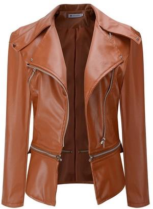 YEBIRAL Winter Fashion Trend Simple Generous Warm Women Faux Collar Short Coat Leather Jacket Parka Overcoat Outwear Brown