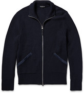 Tom Ford - Suede-trimmed Tuck-stitch Wool Zip-up Sweater