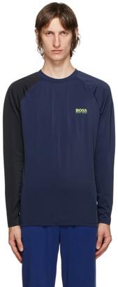 HUGO BOSS Blue and Black Rashguard Long Sleeve T-Shirt