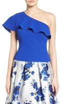 Eliza J Women's Ruffle One Shoulder Crepe Top