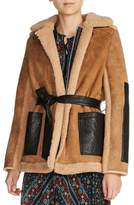 Maje Shearling Lined Leather Coat