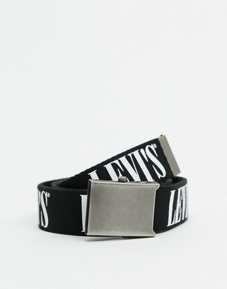 Levi's woven belt with large logo and clip belt