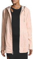 Public School Rin Hooded Suede Jacket, Pink