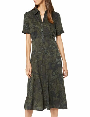 Desigual Women's Dress Ginebra Dress Green (BOABA 4068) 12 (Manufacturer Size: 40)