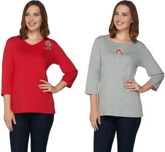 Quacker Factory Set of 2 Fall Fun 3/4 Sleeve T-shirts