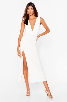 Nasty Gal Womens Plunging V-Neckline Midi Dress with Slit at Side - White