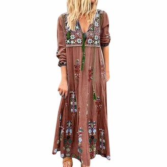 Rifuli Dresses for Womens Boho Plus Size V Neck Print Lace Up Long Sleeve Dress Party Maxi Dress Gray