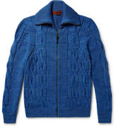 Missoni Cable-knit Mélange Wool Cardigan - Blue