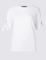 M&S Collection Eyelet Round Neck Short Sleeve T-Shirt