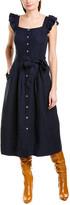 Rebecca Taylor Button-Front Linen Midi Dress