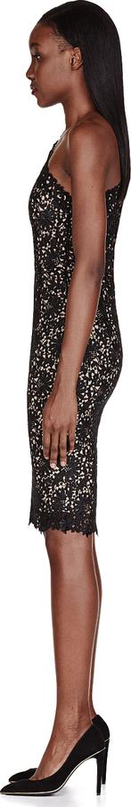 Stella McCartney Black One Shoulder Lace Dress