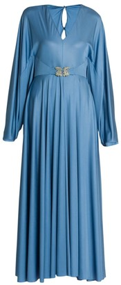 Valentino Embellished-Griffon Fluid Jersey Gown