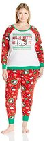 Hello Kitty Women's Plus Size Ugly Holiday Pajama Set