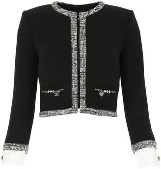 Elisabetta Franchi Tweed Trim Cropped Jacket