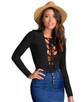 Coromose Sexy Womens Long Sleeve Lace up Bandage Bodysuit Crop Top Shirt Jumpsuit (L, )
