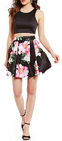 Sequin Hearts Sleeveless Solid Top to Floral-Print Two-Piece Fit-and-Flare Dress