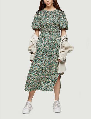 Topshop Mixed floral-print woven midi dress