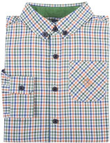 Andy & Evan Long-Sleeve Check Poplin Shirt, Orange, Size 2-7