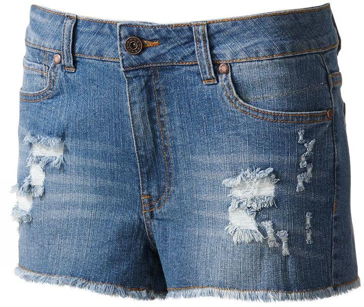Tinseltown distressed high-waist denim cut-off shorts - juniors