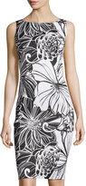 Neiman Marcus Sleeveless Floral-Print Sheath Dress, Black/White