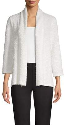 Kasper Sequined Zig-Zag Highneck Cardigan
