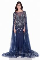Terani Evening - Crystal Embellished Cape Detail Starry Night Evening Gown 1622GL1996