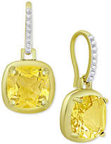 Macy's Citrine Cushion Drop Earrings (3-5/8 ct. t.w.) in 18k Gold-Plated Sterling Silver