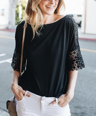 Amaryllis Women's Blouses BLACK - Black Crochet-Panel Top - Women & Plus