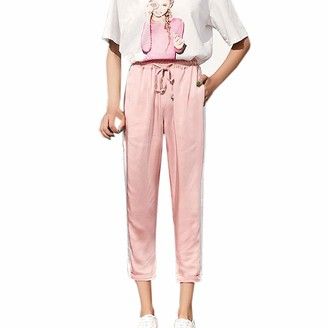 NEEDRA SALES Trousers Women Summer High Waist Harem Pants Women Summer Elastic Waist Stripe Casual Pants Pink