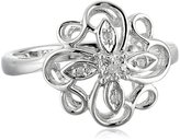 Amazon Collection Sterling Flower Diamond Ring (0.01 cttw, I-J Color, I2-I3 Clarity), Size 7