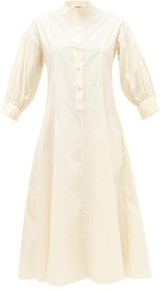 Three Graces London Bianca Buttoned Cotton-poplin Shirt Dress - Womens - Cream